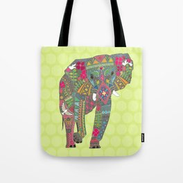 painted elephant chartreuse spot Tote Bag
