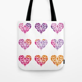 Rainbow Watercolor Damask Heart Tote Bag