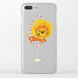 Lion hopped through a loop Clear iPhone Case