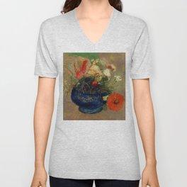 """Odilon Redon """"Flowers in a Blue Cup (Fleurs dans une coupe bleue)"""" Unisex V-Neck"""