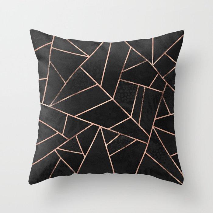 Velvet Black Rose Gold Throw Pillow By Elisabethfredriksson Society6