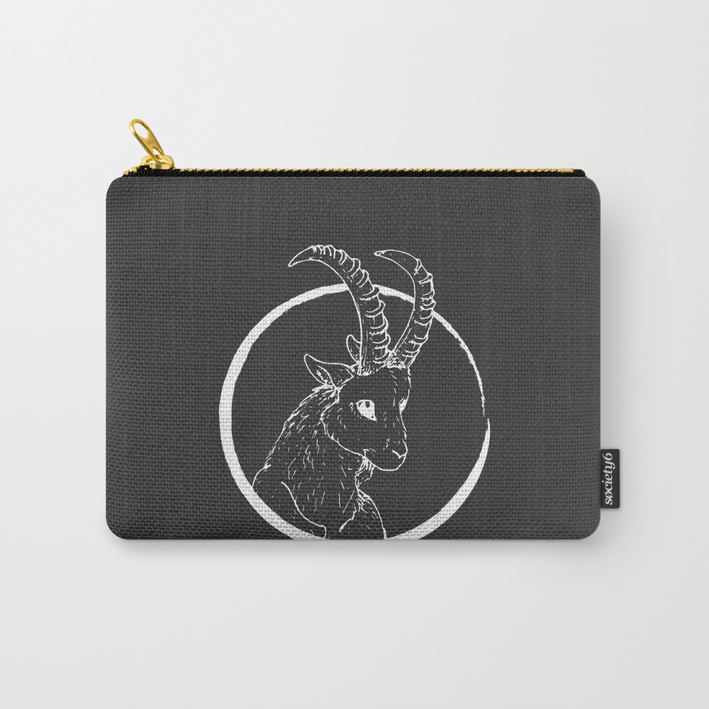 Pen & Ink Goat Tattoo White Carry-all Pouch by Cloudwalkerdesigns CAP8757662