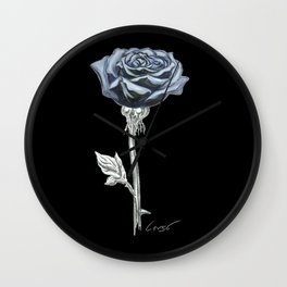 Rose 03b Botanical Flower * Blue Black Rose Wall Clock