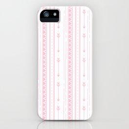 Blush pink white bohemian arrows zigzag geometrical iPhone Case