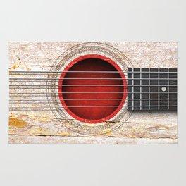 Old Vintage Acoustic Guitar with Japanese Flag Rug