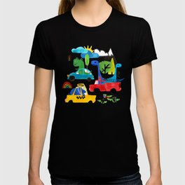 Dinosaur City Watercolor Transportation Pattern T-shirt