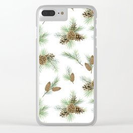 pine branches and cones pattern Clear iPhone Case