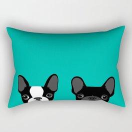 Boston Terrier and French Bulldog Rectangular Pillow