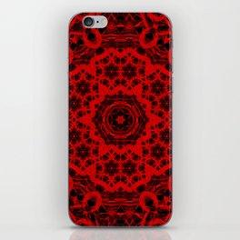 Vibrant red and black wattle mandala iPhone Skin