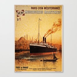 Vintage French Orient Shipping line Paris Mediterranean Canvas Print