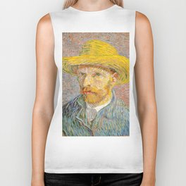 Self-Portrait with a Straw Hat - Vincent Van Gogh Biker Tank