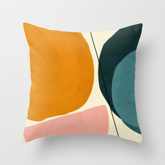 shapes geometric minimal painting abstract Throw Pillow