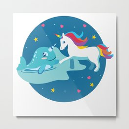 Narwhal Unicorn Beluga Sea Life Friendship Gift Metal Print