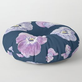 Watercolor Pansy Pattern (Navy Background) Floor Pillow