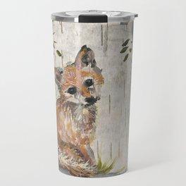 Baby Fox on birch Travel Mug