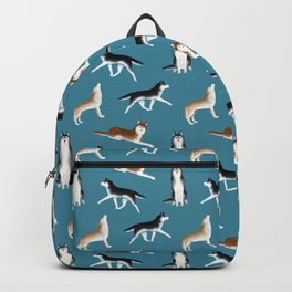 Husky Pattern (Teal Blue Background) Backpack