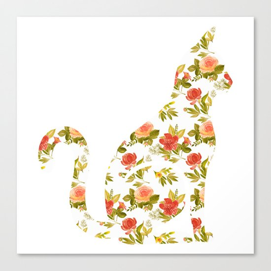 Roses and Peonies Cat Silhouette Canvas Print