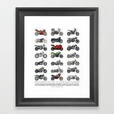 Motorcycle Illustration Poster Framed Art Print