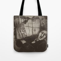 newspaper Tote Bags featuring Newspaper Boy by Marie-Pier Cadorette