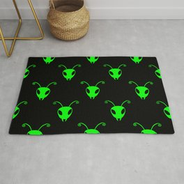 Bug Heads Insect Pattern Black and Neon Green Rug