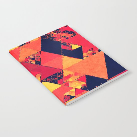 Pure fire- Red yellow black abstract Triangle pattern- Watercolor Illustration Notebook