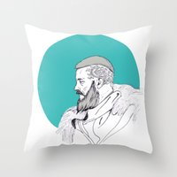 vikings Throw Pillows featuring Ragnar Lothbrok / Vikings by Lucia Prieto Moreno