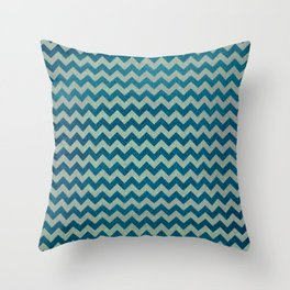 Blue and Green Chevron Pattern Throw Pillow