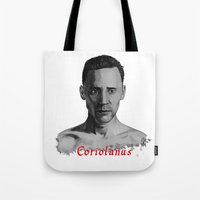 tom hiddleston Tote Bags featuring Tom Hiddleston as Coriolanus by OnaVonVerdoux