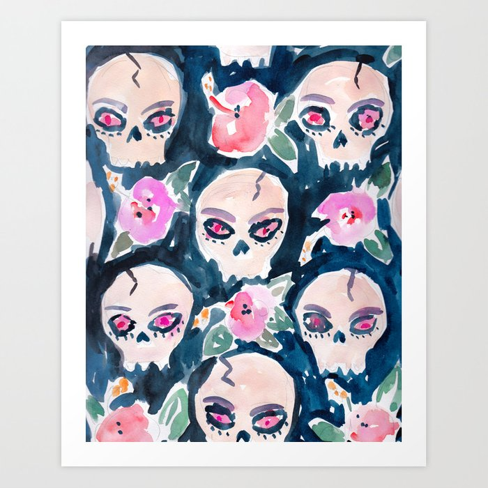 Skulls and Hibiscus Art Print