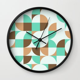 Mint and Chocolate Fresh Pattern Wall Clock