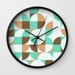 Mint and Chocolate Fresh Pattern Wall Clock