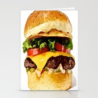 burger Stationery Cards featuring Burger by Owl Things