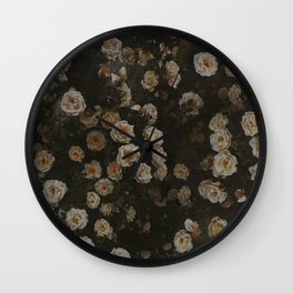 Midnight Dark Floral Grunge Wall Clock