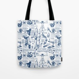 Da Vinci's Anatomy Sketchbook // Dark Blue Tote Bag