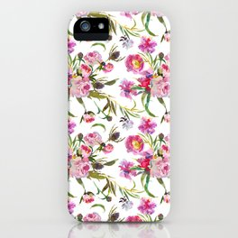 Pink lavender yellow watercolor elegant floral iPhone Case