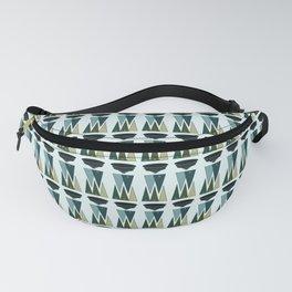 Retro Modern Triangular Outdoor Cool Blue Green Stripes Fanny Pack