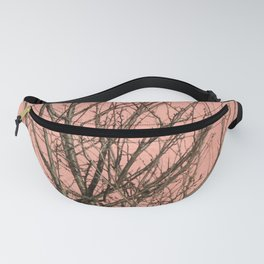 Bare tree against a pink wall Fanny Pack