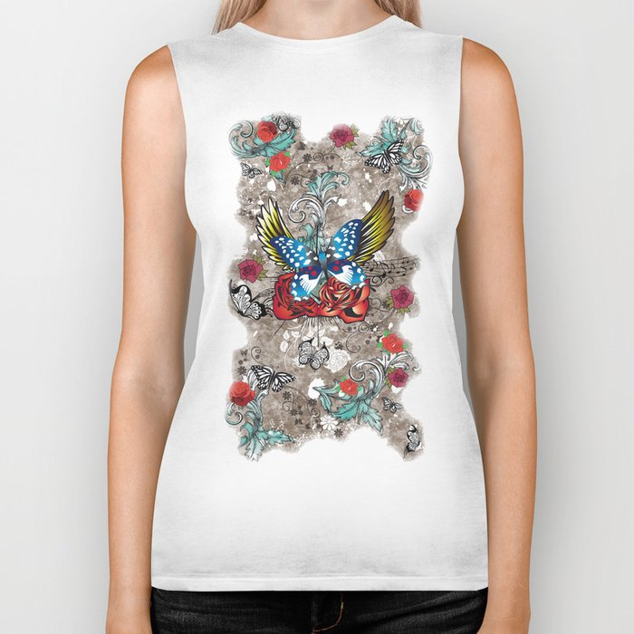Butterfly with Roses Biker Tank