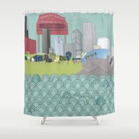 chicago Shower Curtains featuring Chicago by holliejane