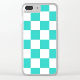 Large Checkered - White and Turquoise Clear iPhone Case