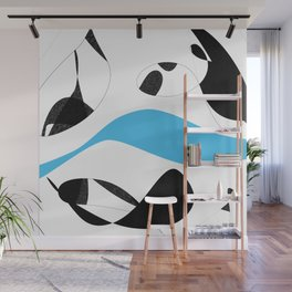 Minimalist Black and White Blue Curves Lines Wall Mural