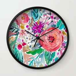 High by the Beach Painterly Floral Wall Clock