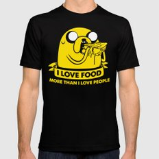 I love food more than I love people Black Mens Fitted Tee LARGE