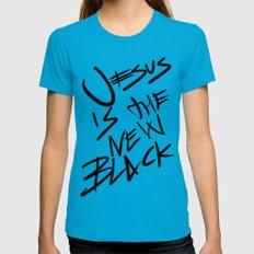 Jesus is the New Black Teal MEDIUM Womens Fitted Tee
