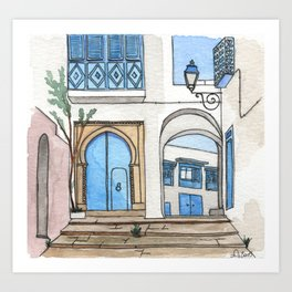 Blue Doors in Sidi Bou Said Art Print