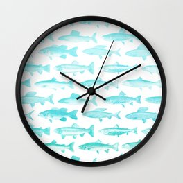 Fishes- Simple pattern in aqua on clear white Wall Clock