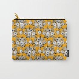 Modern Saffron Gray White Floral Watercolor Paint Carry-All Pouch