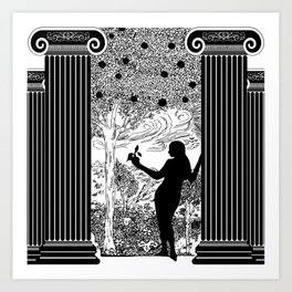 Antique Greek Columns Eve in the Garden Art Print