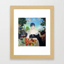MERCHANT'S WIFE AT TEA - BORIS KUSTODIEV Framed Art Print