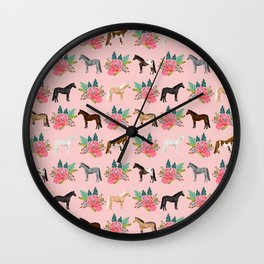 Horse Floral - florals, pink, flower, florals, bloom, horses, cowgirl, bedding, decor, cute Wall Clock